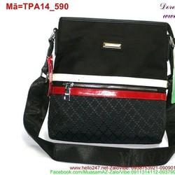 Túi đeo ipad phối sọc 2 màu trắng đỏ nổi bật sành điệu TPA14