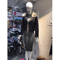 Áo khoác da cổ vest