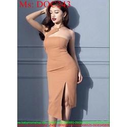 Đầm body cúp ngực và xẻ đùi sexy sành điệu phối dây chéo DOC243