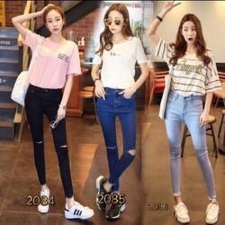 Quần jean dài nữ rách dễ thương