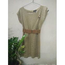 Đầm len dệt kim xuất khẩu kèm thắt lưng