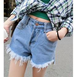 quần short jeans tua Mã: QN676 - XANH NHẠT