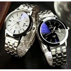 đồng hồ nam yazole mặt kính đẹp day inox Fullbox