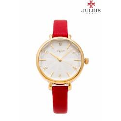 Đồng hồ cao cấp Hàn Quốc Nữ dây da dát đa giác JULIUS JU1086 đỏ