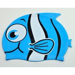 Nón bơi cho bé hình cá màu xanh