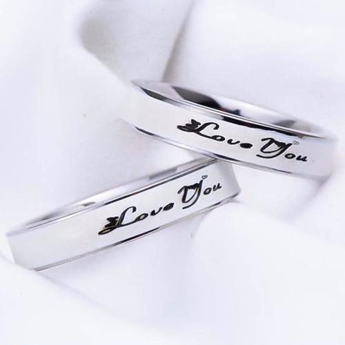 Nhẫn inox cặp đôi inox Love You màu trắng - N093