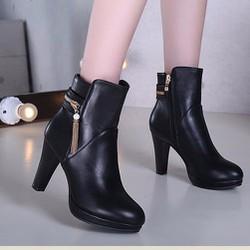 Giày boot nữ khóa kéo phong cách Hàn Quốc B045