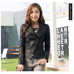 Áo khoác da nữ khóa xéo