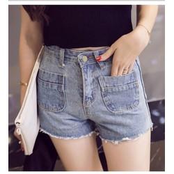 quần short jeans cạp cao 2 túi Mã: QN708 - XANH NHẠT