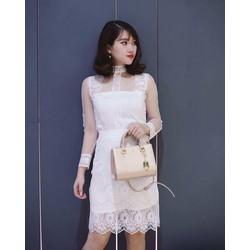 Sét áo ren cổ cao + chân váy fom A xinh iu - SETKN1027