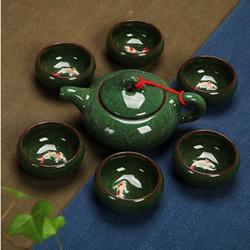 Bộ ấm chén uống trà in cá 3D tráng men Xanh ngọc