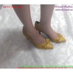Giày cao gót mũi nhọn đính nơ tôn dáng GCN281