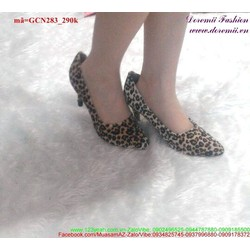 Giày cao gót mũi nhọn da beo sành điệu GCN283