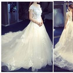 Váy cưới đuôi dài trắng cao cấp, ren 3D, vai lưới - M577