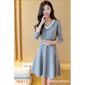 Đầm len  xòe cổ tim TD317