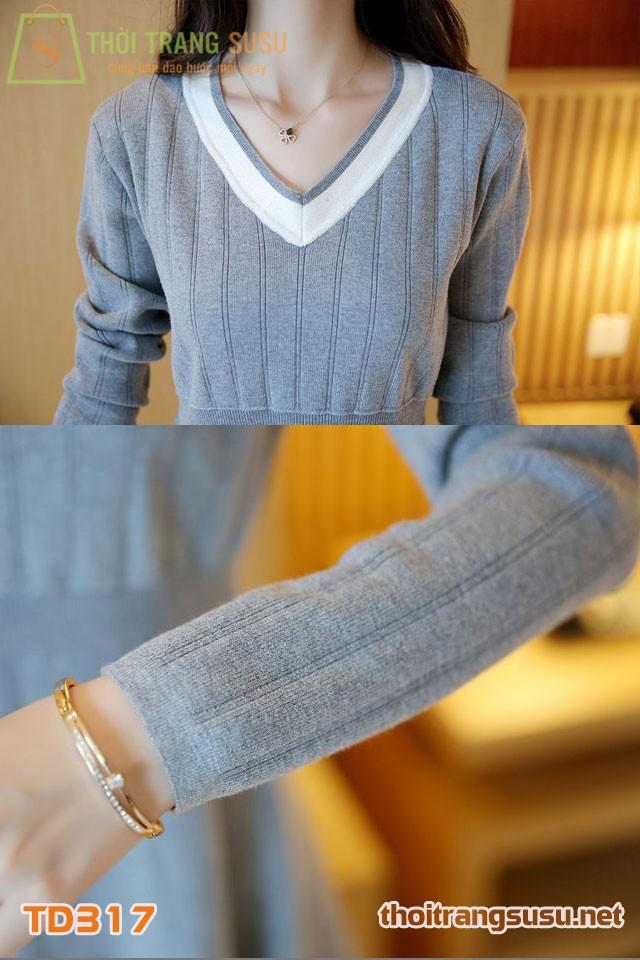 Đầm len  xòe cổ tim TD317 7