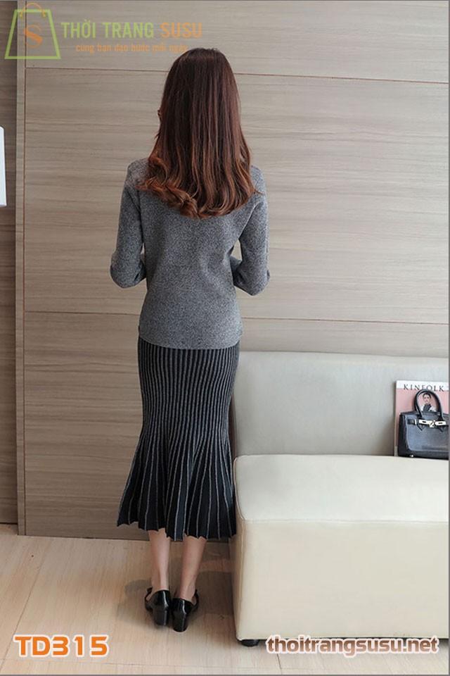Set đầm len chân váy xòe TD315 11