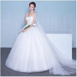 Áo cưới đuôi dài trắng, vai lưới, ren 3D - M568