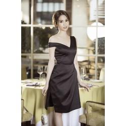 Đầm Đen Thiết Kế Lệch Vai Đẹp Như Ngọc Trinh D361