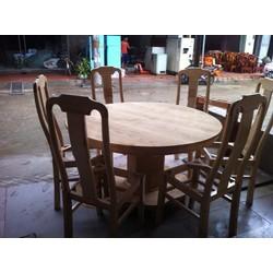 Bộ bàn ghế ăn tròn gỗ sồi nga 6 ghế