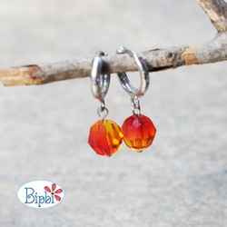 KTP 235 - Bông tai pha lê Swarovski màu fire opal