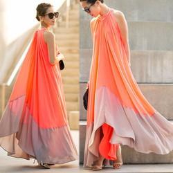 Đầm maxi suông vạt xéo phối màu