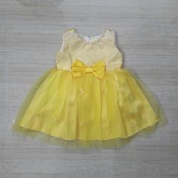 [Hàng thiết kế] - Đầm công chúa voan vàng nơ eo