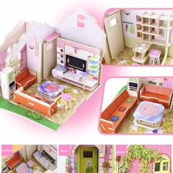 Mô hình nhà búp bê gỗ DIY 3D Doll House Puzzle Wooden Toys HPM9182