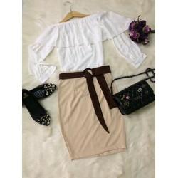 Set Áo áo lệch vai chân váy body