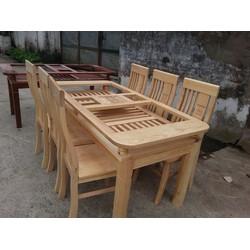 Bộ bàn ghế ăn gỗ sồi nga 1m6 6 ghế