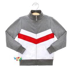 Áo khoác cổ lọ bé trai sọc đỏ Gray 25-45kg