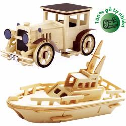 Bô 02 Đồ chơi gỗ xếp hình 3D Puzzle Wooden HPMC5002