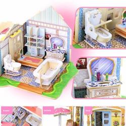 Mô hình nhà gỗ DIY Doll House 3D Jigsaw Puzzle Wooden Toys HPM9181