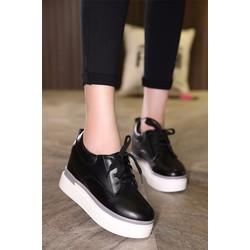 Giày bánh mì độn đế phối màu bằng da GF63013372
