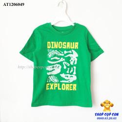 Áo thun màu xanh lá in chữ Dinosaur