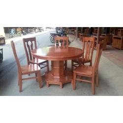 Bộ Bàn ghế ăn tròn gỗ xoan đào 6 ghế