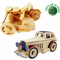 Bô 02 Đồ chơi gỗ xếp hình 3D Puzzle Wooden HPMC5004