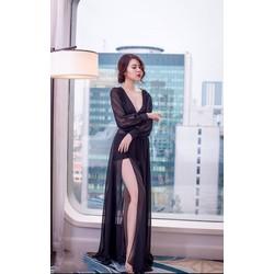 Đầm maxi xẻ đùi tay dài sexy