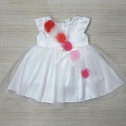 [Hàng thiết kế] - Đầm công chúa trắng đính hoa hồng