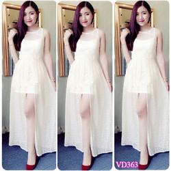 Đầm maxi ren xẻ tà sang trọng