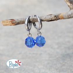 KTP 231 - Bông tai pha lê Swarovski xanh sapphire