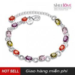 Vòng đeo tay nữ bạc đá nhiều màu thời trang xinh xắn dễ thương H258