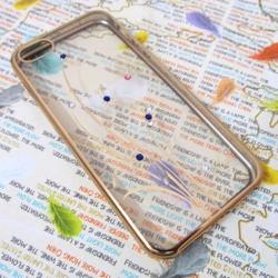 Ốp lưng nhựa dẻo iPhone 5-5S trong suốt viền màu mẫu 3