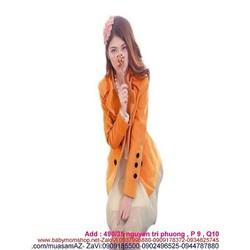 Áo khoác nữ mùa đông thiết kế cổ nởi và đính nút sành điệu AKMT54