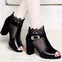 Giày Boot nữ hở mũi cổ lưới hoa cao cấp - LN670
