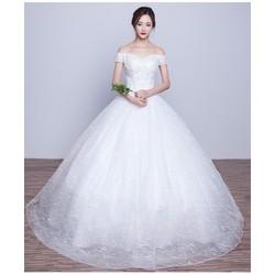 Áo cưới công chúa, trễ vai ren tùng ánh kim sa lấp lánh