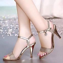 Giày cao gót nữ kim tuyến phối khóa đá - LN671
