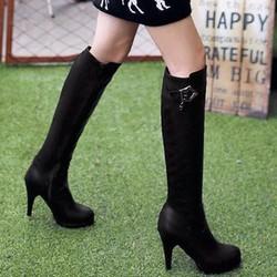 B057- Giày Boot Nữ Da Cổ Cao Cá tính