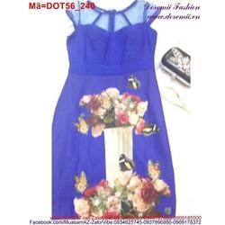 Đầm ôm công sở hoa phối lưới thanh lịch DOT56