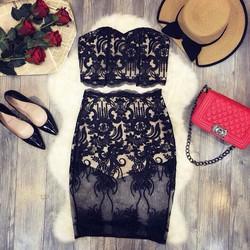 set áo cúp ngực + chân váy